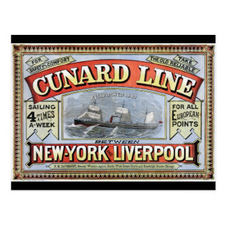Cunard Line New York Liverpool Poster Postcard