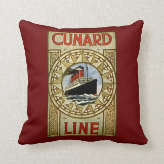 Cunard Line Vintage Cruise Line Advertisement Cushion