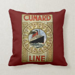 Cunard Line Vintage Cruise Line Advertisement Pillow