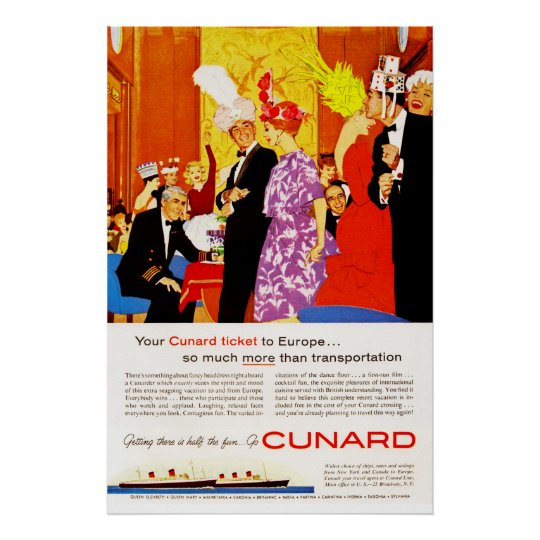 Cunard Queens Party Ad Poster