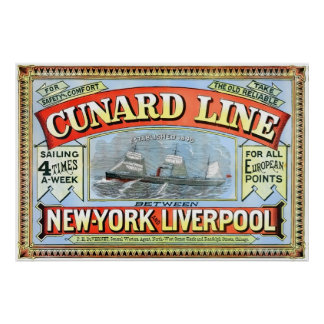 Cunard Shipping Line Vintage Poster