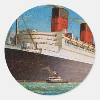 Cunard White Star Line's Queen Mary Round Sticker