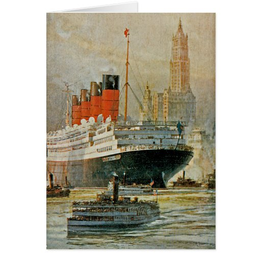Cunarder at New York Greeting Card