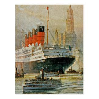 Cunarder at New York Postcard