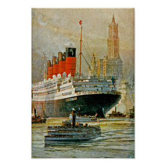 Cunarder at New York Poster