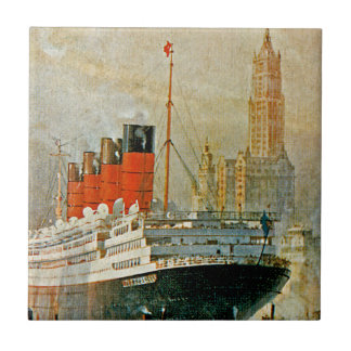 Cunarder at New York Small Square Tile