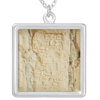 Cuneiform script on a palace wall silver plated necklace