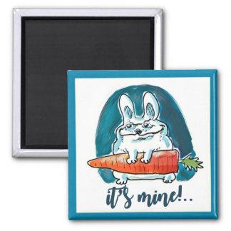 cunning rabbit holds carrot cartoon magnet