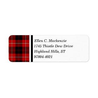 Cunningham Clan Red and Black Scottish Tartan Return Address Label