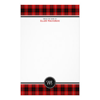 Cunningham Clan Tartan Red and Black Monogram Stationery