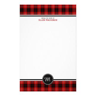 Cunningham Clan Tartan Red and Black Monogram Stationery Paper