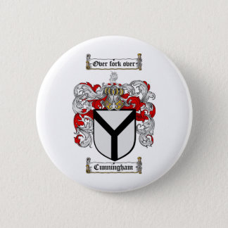 CUNNINGHAM FAMILY CREST -  CUNNINGHAM COAT OF ARMS 6 CM ROUND BADGE