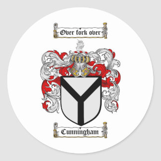 CUNNINGHAM FAMILY CREST -  CUNNINGHAM COAT OF ARMS ROUND STICKERS
