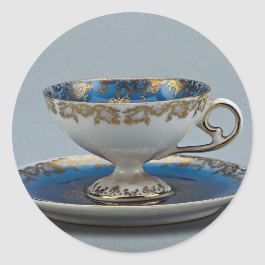 Cup and saucer with colourful designs classic round sticker