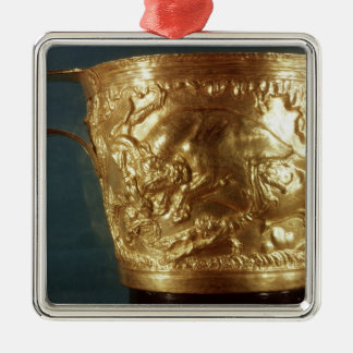Cup, depicting a charging bull christmas ornament