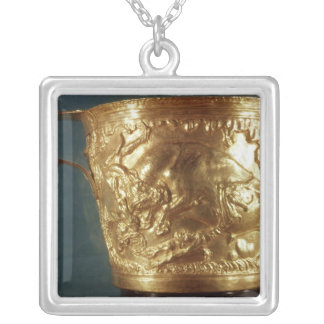 Cup, depicting a charging bull silver plated necklace