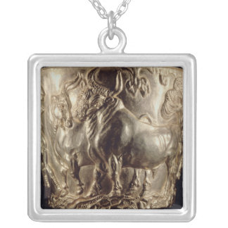 Cup, depicting a domestic bull silver plated necklace
