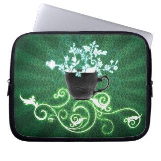 cup_flowers_green_ laptop sleeve