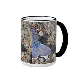 Cup large blue butterfly ringer mug