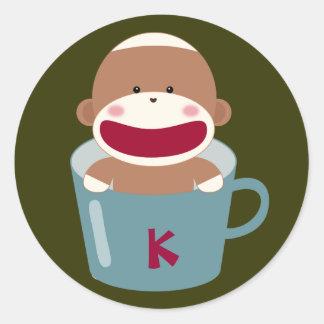 Cup O' Sock Monkey(Blue) Sticker