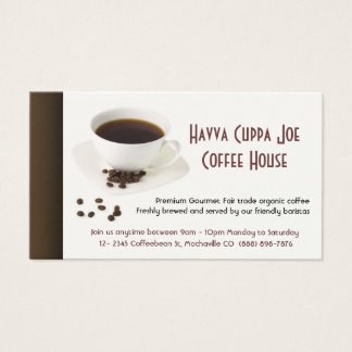 Cup of Coffee  and Coffee beans Heart Business Card