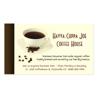 Cup of Coffee  and Coffee beans Heart Pack Of Standard Business Cards