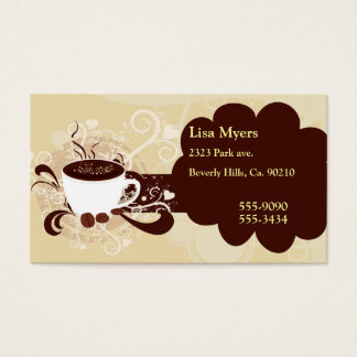 Cup Of Coffee Hearts & Swirls Business Card