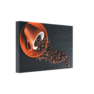 Cup of Coffee House Blend and Beans Canvas Print
