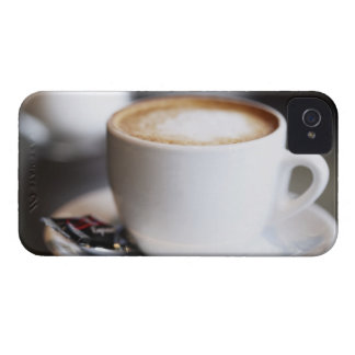 cup of coffee latte on table, close-up iPhone 4 Case-Mate case
