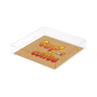 Cup of Coffee with coffee foam Small Square Tray