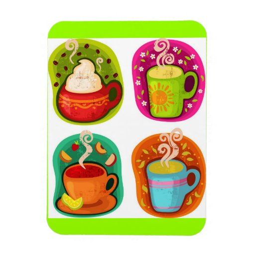Cup of Hot Drink Coffee or Tea Vector Illustration Rectangular Magnets