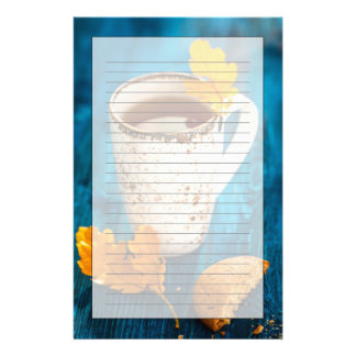 Cup Of Tea And Autumn Leaves On Blue Wooden Custom Stationery