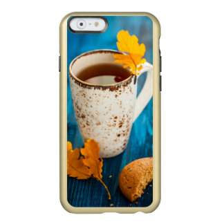 Cup Of Tea And Autumn Leaves On Blue Wooden Incipio Feather® Shine iPhone 6 Case