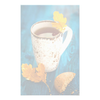 Cup Of Tea And Autumn Leaves On Blue Wooden Personalized Stationery