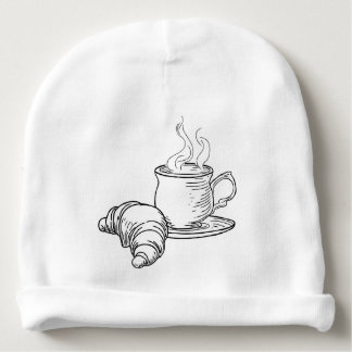 Cup of Tea and Croissant Vintage Retro Style Baby Beanie