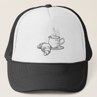 Cup of Tea and Croissant Vintage Retro Style Trucker Hat