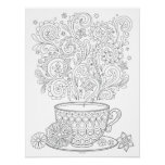 Cup of Tea Colouring Poster - Tea Cup Art