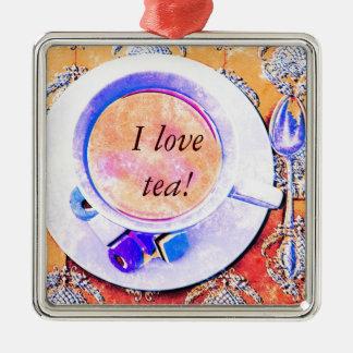 Cup of tea - I love tea Silver-Colored Square Decoration