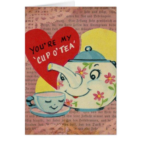 Cup of Tea Vintage Valentine Card