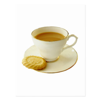 Cup of tea with cookie postcard