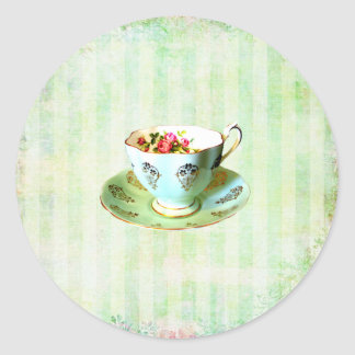 Cup & Saucer Envelope Seal....sticker Classic Round Sticker
