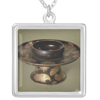 Cup stand with 'Nashiji' decoration Silver Plated Necklace