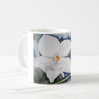Cup with African violet in watercolor