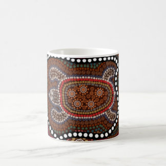 cup with turtle in aborigines style basic white mug