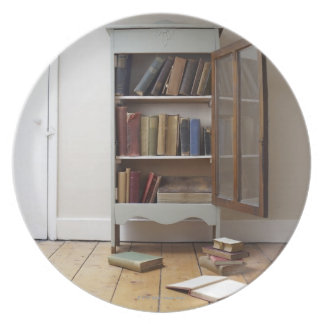 Cupboard full of books. plate