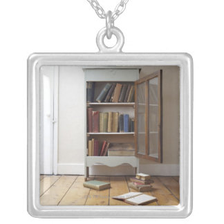 Cupboard full of books. silver plated necklace