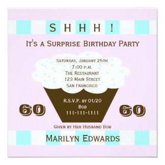 Cupcake 60th Surprise Birthday Party Invitation