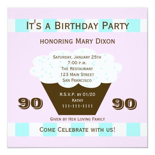 Cupcake 90th Birthday Party Invitation 90 Cupcake