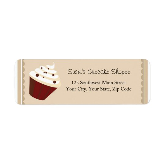 Cupcake Address Labels, Soft Mocha Stripes