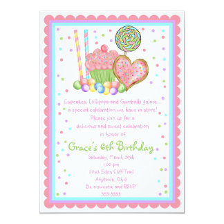Cupcake and Candy  Birthday invitations